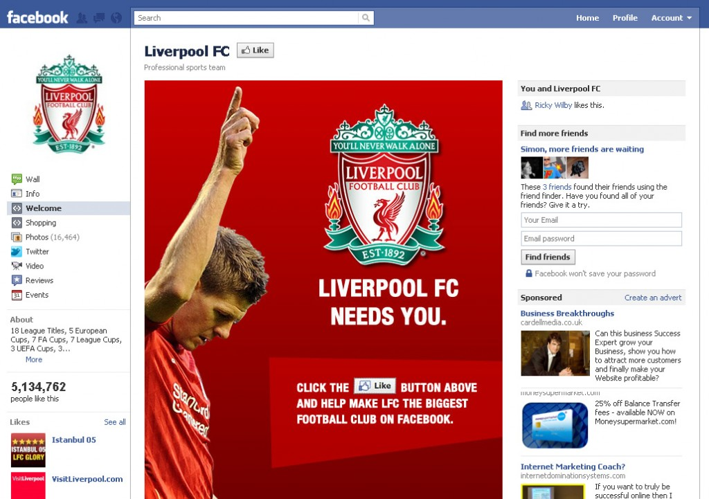 Liverpool FC Facebook Like Page