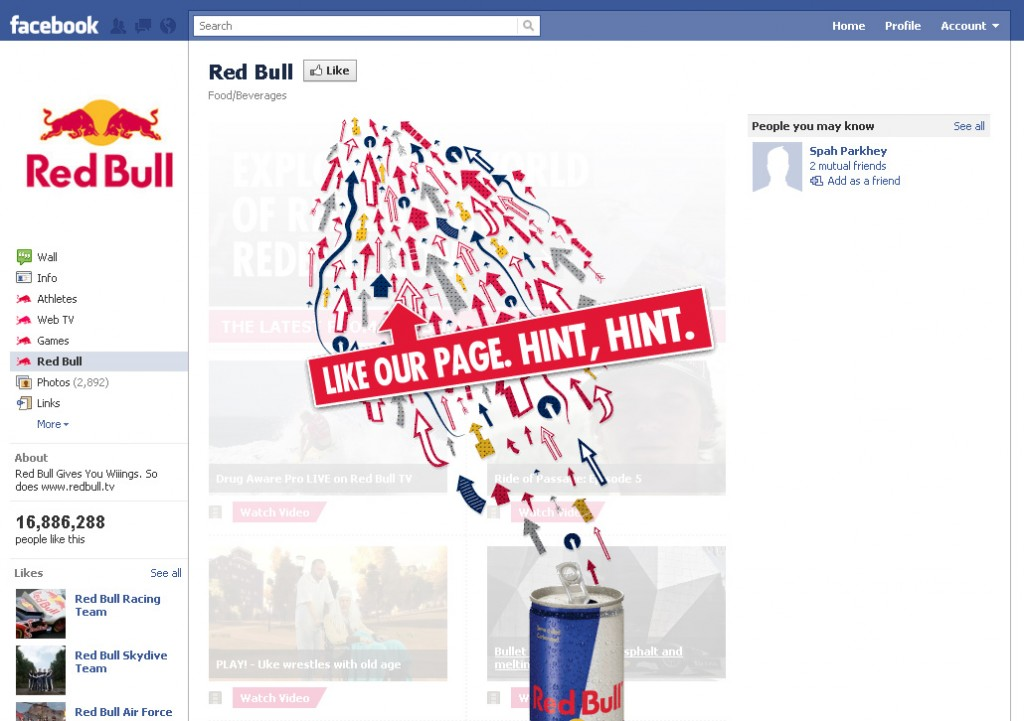 Redbull Facebook Like Page
